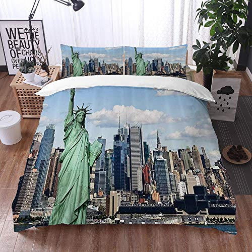 Yuxiang Bedding Sets Duvet Cover Set, New York Statue of Liberty in NYC Harbor Urban City Print Famous Cultural Landmark,3-Piece Comforter Cover Set 200 x 200 cm +2 Pillowcases 50 * 80cm