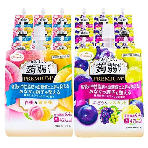 たらみ おいしい 蒟蒻ゼリー PREMIUM+ 150g 2種 60個セット (白桃&黄金桃・ぶどう&マスカット 各30個ずつ)