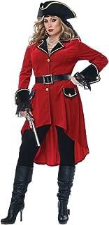 Womens Plus Size High Seas Heroine Pirate Costume Red
