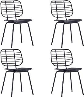 Festnight 4 Unidades Sillas de Comedor Negro 48 X 55 X 82,5 Cm Sillas Cocina Asientos de Cuero Sintético Acero