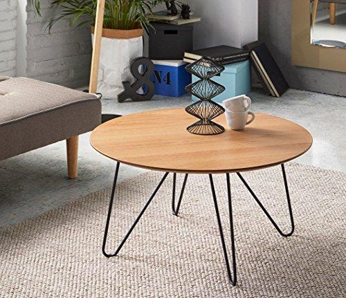 DUGARHOME Table basse de style industriel – Table ronde en bois/fer