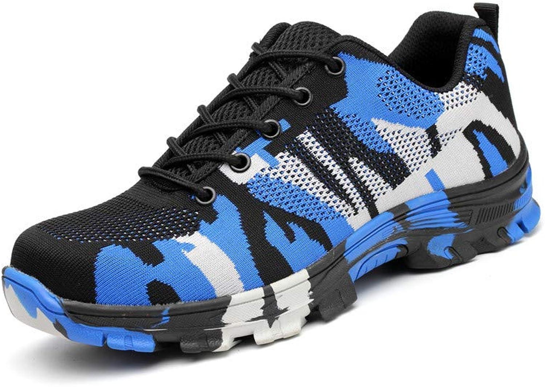 YMNL Sicherheitsschuhe, Anti-Smashing, Pannenschutz, Mnner Schuhe, Stahlkopf ist Atmungsaktiv, Vier Jahreszeiten Schuhe,Blau,43