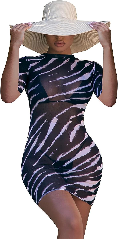 Bluewolfsea Women Sexy Sheer Mesh Printed Bodycon Mini Dress See Through Party Club Dresses Beach Coverups