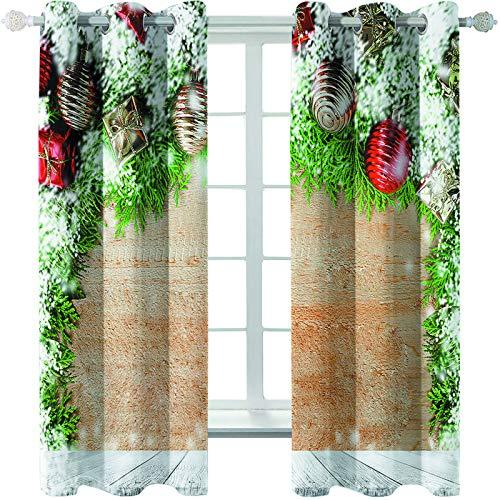MMHJS Cortinas De Tela con Estampado De Papá Noel En 3D, Impermeables, Aislamiento Térmico, Persianas Verticales De Sombreado, Artículos para El Hogar, Decoraciones De Pared (2 Piezas)