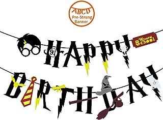 YoHold Wizard Happy Birthday Felt Banner for Wizard, Halloween Birthday Party Supplies Decorations, Black