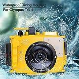 Per Olympus TG3 TG4 giallo 195 piedi/60m custodia fotocamera subacquea custodia impermeabile (custodia + filtro rosso)