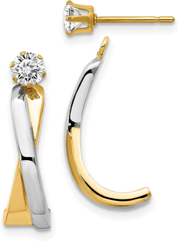 14k Multi-Tone Gold J-Hoop with CZ Stud Earring Jackets 25x6 mm