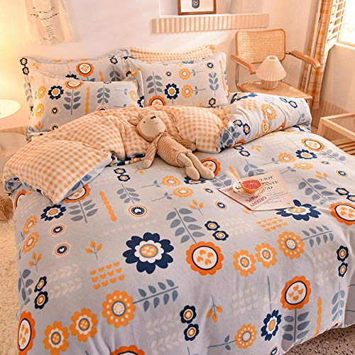 Shinon teddy fleece bedding king size set,Winter single double bed single pillowcase flannel duvet cover short plush king size bedding set-T_2.0m bed (4 pieces)