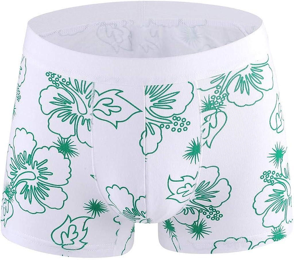 Boxer Briefs Mens GREFER Personality Plus Size Flower Printed Underpants Elastic Waist 95% Cotton Underwear