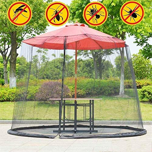 REWD Mosquito Netting Foldable Helps Protect from Mosquitoes Fits Umbrellas and Patio Table - Excluding Umbrella and Foundation