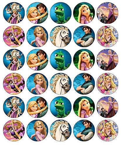 30 obleas comestibles para cupcakes, diseño de Rapunzel Disney