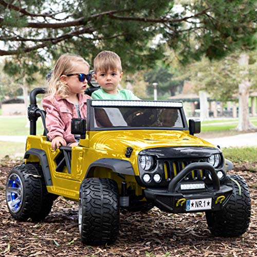 2021 Two (2) Seater Ride On Kids Car Truck w/ Remote | Large 12V Battery Licensed Kid Car to Drive 3 Speeds, Leather Seat, MP3 Music by Bluetooth, FM Radio, Rubber    Tires