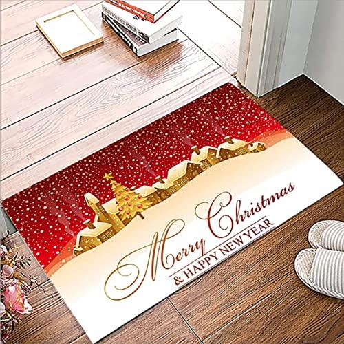 KOIROI Weihnachten Fußmatten, Weihnachten rutschfeste Badematte, Weihnachtsteppich, rutschfest Waschbar Weihnachtsteppich für Wohnzimmer, Schlafzimmmer, Badezimmer Teppich, 40 x 60 cm (F)