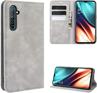 For Oppo K5 / Realme XT/Realme X2 Retro-skin Business Magnetic Suction Leather Case with Holder & Card Slots & Wallet New (Black) LKay (Color : Grey)