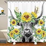 Cortina de ducha de vaca Highland para niños, girasol, floral, occidental, toro, impermeable, para niñas, adolescentes, granja y animales de vida silvestre, cortina de tela de poliéster, 122 x 71 cm