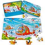 Rolimate Rompecabezas Puzzle de Madera para Niños Niñas, Montessori Juguetes Educativos con Rompecabezas de Helicóptero con Caja de Metal, Cumpleaños para 3 4 5 años (60 Piezas)