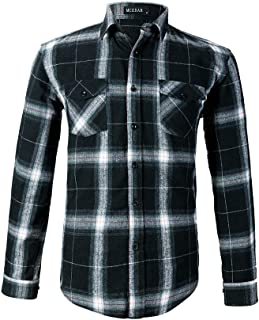 Men's Plaid Flannel Shirts-Long Sleeve Casual Button Down Slim Fit Outfit for Camp Hanging Out or Work