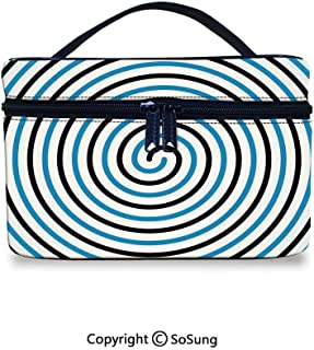 Spires Decor Leather Cosmetic Bag Turning Curve Winds Fixed at Center Spiral Conic Helix Figure Hypnotic ImageHandbag With Zipper,9.8x7.1x5.9inch,Blue Black