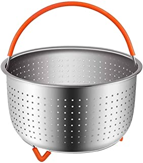 Steamer Basket Accessories For Instant Pot 6 And 8 quart   Sturdy Stainless Steel 304 InstaPot Insert And Strainer   Fits Insta Pot, Other Pressure Cookers And Pots   Silicone Handle And Feet