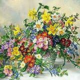 Lazodaer Kit de pintura de diamante redondo 5D para adultos y principiantes, bordado artesanal, decoración del hogar, flores coloridas, 2 30 x 30 cm