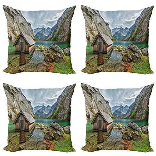 ABAKUHAUS Vistoso Set de 4 Fundas para Cojín, Alpine Mountain View, Estampado Digital en Ambos Lados y Cremallera, 40 cm x 40 cm, Multicolor