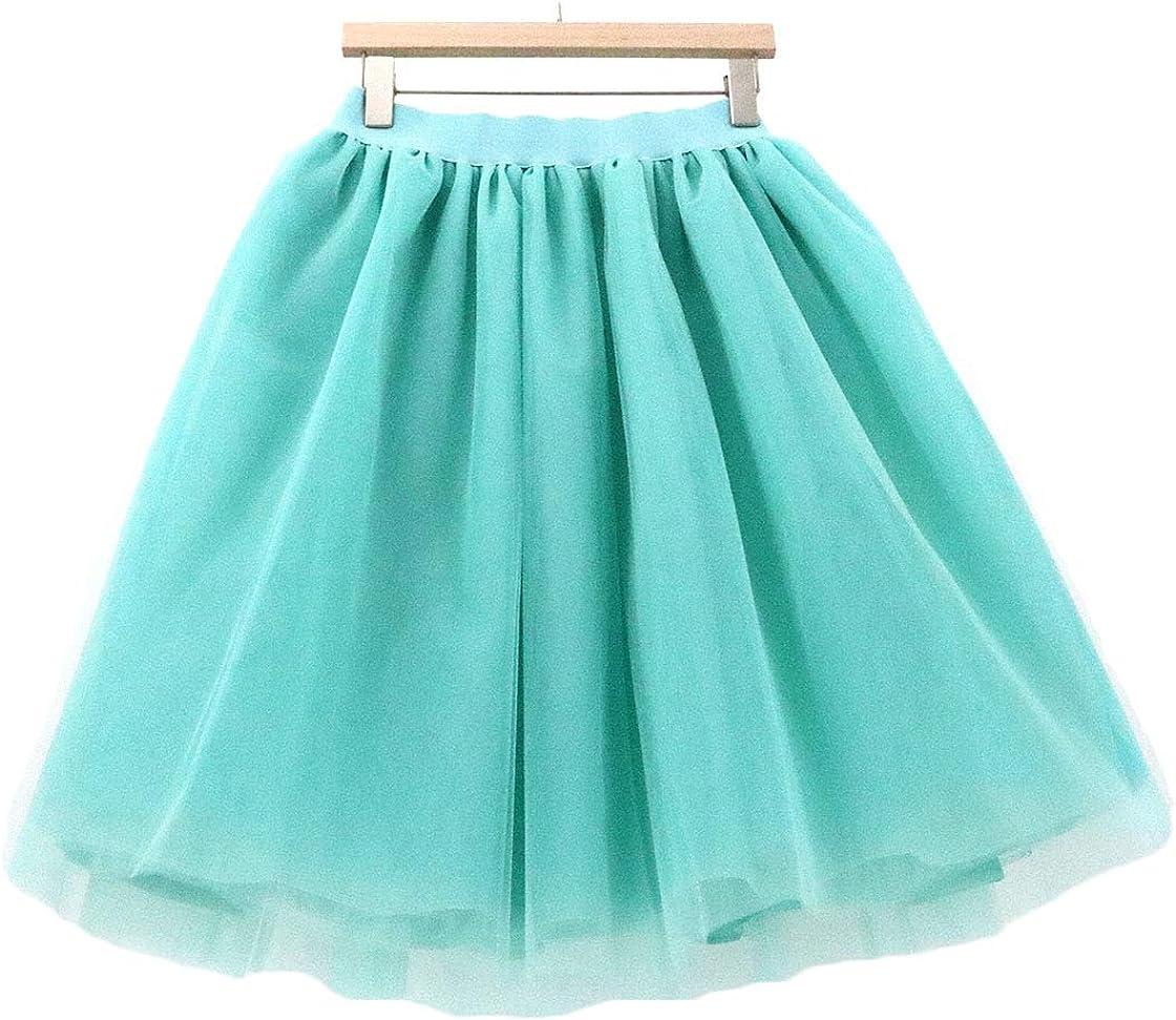 Women's Knee Length Elastic Layered Princess Mesh Tulle Prom Party Midi Skirt SK05