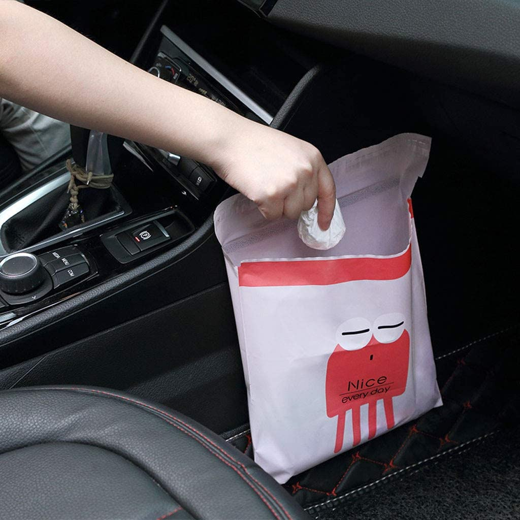 Kitchens Watertight 15PCS Beautiful Kitchen Storage Bag Suitable for Cars Easy Stick-On Disposable Car Trash Bags Green Disposable Stick To Anywhere -Leak Proof Vomit Bag Durable Bedrooms