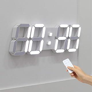 ساعت دیواری LED 3D Mooas Big Plus سفید ، ساعت دیواری ، ساعت LED ، ساعت زنگ دار از راه دور