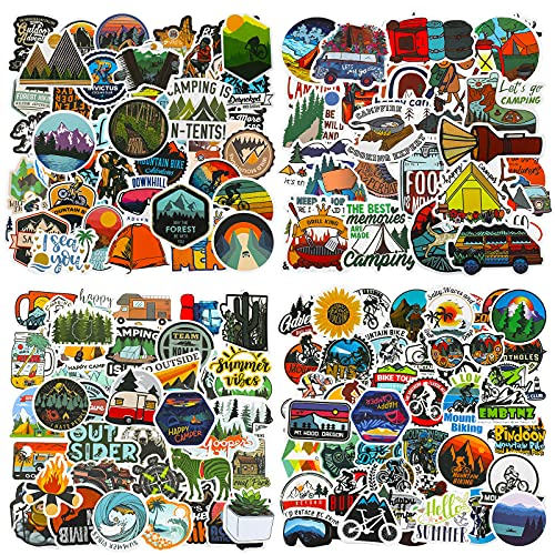 200 Pieces Outdoor Adventure Stickers Vinyl Waterproof Wilderness Nature Stickers Hiking Camping Travel Decals for Water Bottles, Phone, Computer, Luggage, Guitar, Adults Teens Girls