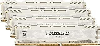 Crucial Ballistix Sport LT BLS4K8G4D30AESCK 3000 MHz, DDR4, DRAM, Memoria Gamer Kit para ordenadores de sobremesa, 32 GB (8 GB x 4), CL15 (Blanco)