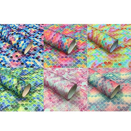 Viesky 6 Kleur Glitter Vis Schaal Faux Lederen Vellen Gleit PU voor DIY Oorbellen Maken A5