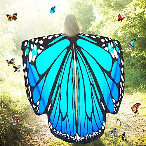 Htianc Schmetterling Kostüm Polyester Schmetterling Kostüm Flügel Damen Schmetterlingsflügel Erwachsene Schmetterling Kostüm Umhang Schmetterling Schal Flügel für Halloween, Party, Weihnachten