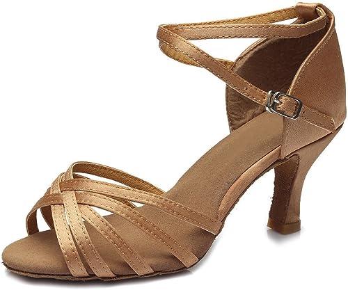 YFF Bal des femmes Chaussures de danse Latine Salsa talons Style 15 Sex ,BEIGE,UK2,5 US 4 UE35,7CM