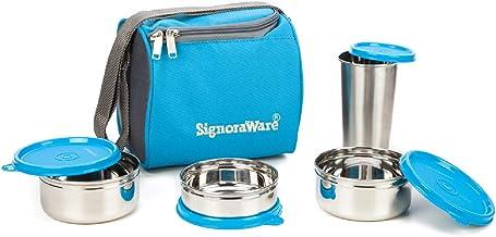Signoraware Best Steel Lunch Box, Blue (500 ml+350 ml+200 ml) | with Steel Tumbler 370 ml
