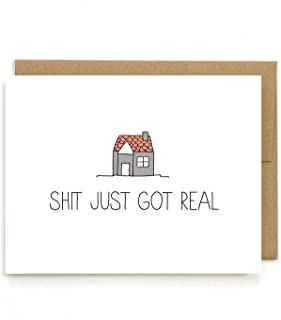 New House Card, Shit Just Got Real, Blank Inside, By Julie Ann Art