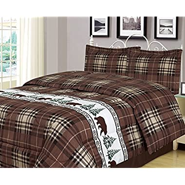 Plaid Bear King Comforter 3 Piece Bedding Set Rustic Cabin Lodge