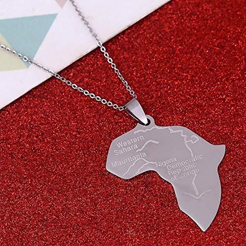 Collar Dama Mapa,África Congo Nigeria Mapa Collares Colgante De Acero Inoxidable Para Hombre Mujer Color Plata Mapas Encanto Joyas Étnicas Regalos Accesorios De Moda@50Cm (19,6 Pulgadas)Thin_Chain