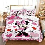 Goplnma - Ropa de cama Disny Mickey Mouse, Minnie Mouse, ropa de cama infantil, Mickey y Minnie con funda de almohada, estampado 3D, microfibra multicolor (135 x 200 cm, 13)