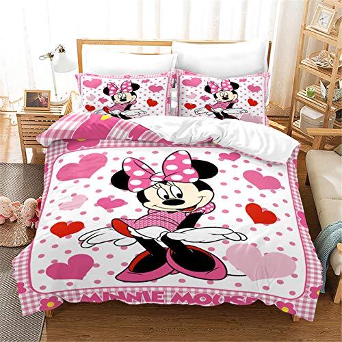 MICOLOD Mickey Mouse Juego de cama de 2/3 piezas para niños, funda de edredón 3D Mickey y Minnie y funda de almohada 100% poliéster para dormitorio (10,135 x 200 cm)