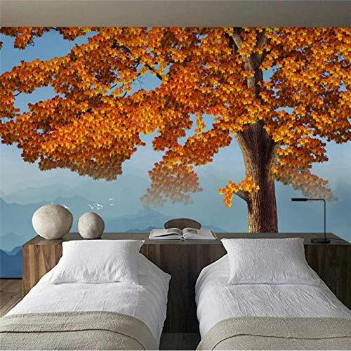 carta da parati 3D murales stereo dipinto a mano albero di acero rosso TV sfondo decorazione murale pittura 3d 210x140cm82.7x55Inch