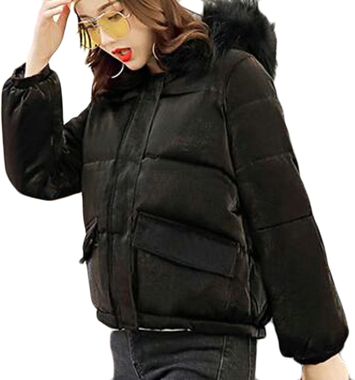 HTOOHTOOH Women's Down Jacket Winter Warm Down Coat Puffer Parka With Faux Fux Hooded