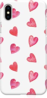 Loud Universe Case for iPhone XS Wrap around Edges Valentines Day Couples Love Heart Pattern Sleek Low Profile Scratch Res...