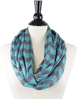 Pop Fashion Womens Chevron Print Pattern Infinity Scarf Wrap with Zipper Pocket
