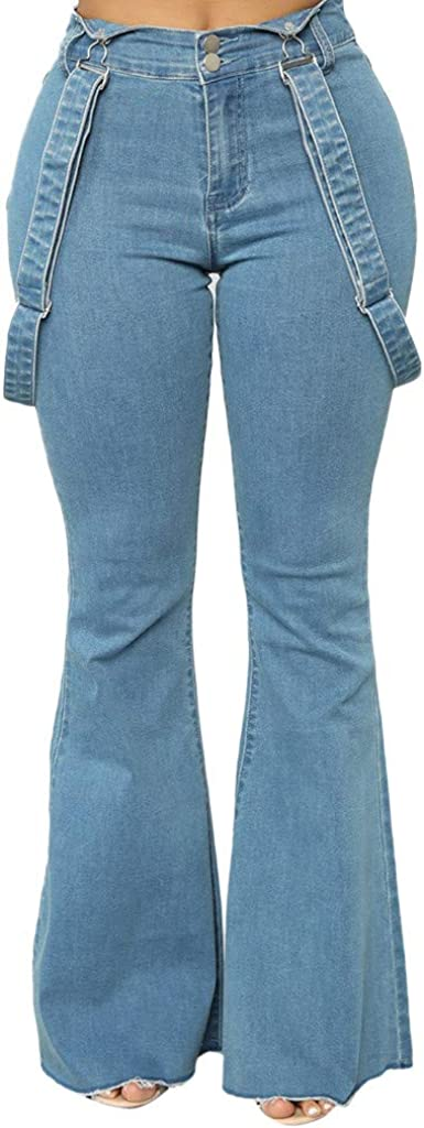 F_Gotal Womens Flare Jeans Strap Pnats Elastic Waist Bell Bottom Raw Hem Denim Pants Juniors Bootcut Pants Jeggings