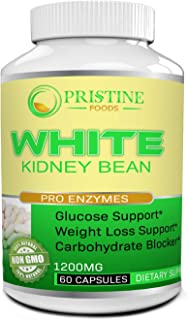 Pristine Foods White Kidney Bean Supplement Pills Pure Extract Starch Carb Blocker Weight Loss Formula - Lose Belly Fat Su...