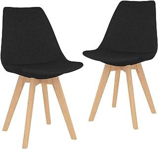 vidaXL 2X Sillas de Comedor Asiento Mobiliario Muebles Cocina Salón Sala de Estar Escritorio Acolchado Suave Respaldo Decoración de Tela Negra