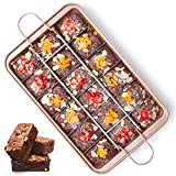 Brownie Pan with Dividers Nonstick Brownie Pans and Cutters, Make 18 Pre-cut Brownies at Once Perfect Individual Brownie Baking Pan All Edge