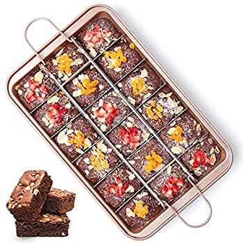 Brownie Pan with Dividers Nonstick Brownie Pans and Cutters Make 18 Pre-cut Brownies at Once Perfect Individual Brownie Baking Pan All Edge