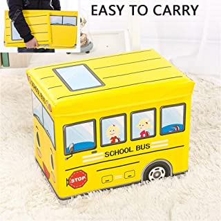 ZRZJBX Storage Toy Padded Kids Box Bench Foldable Large Soft Toy Storage Box Children S Plastic Clothes Storage Box Container Book Bench For Boy And Girl Yellow-B