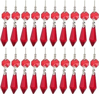 NUOBESTY Candelabro de Cristal Transparente Prismas de Carámbano Candelabro de Lámpara Piezas de Repuesto con Cuentas de Octágono para Diy Colgantes de Cortina de Cristal (Rojo)